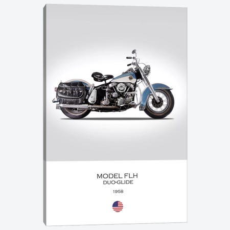 1958 Harley-Davidson Model FLH Duo-Glide Motorcycle Canvas Print #RGN327} by Mark Rogan Canvas Wall Art