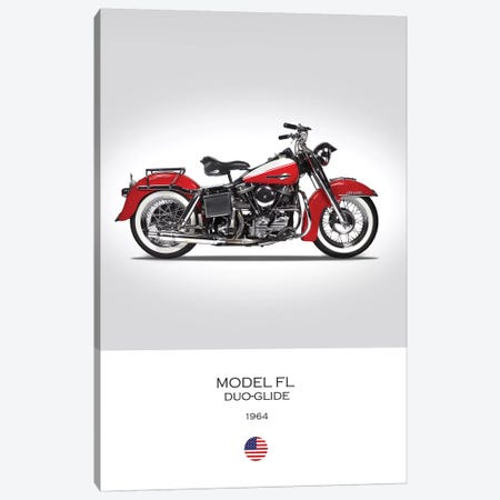 1964 Harley-Davidson Model FL Duo-Glide Motorcycle 3-Piece Canvas #RGN328} by Mark Rogan Art Print