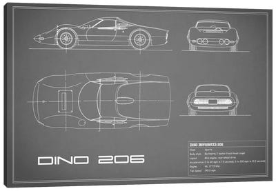1965 Ferrari Dino Berlinetta 206 (Grey) Canvas Art Print