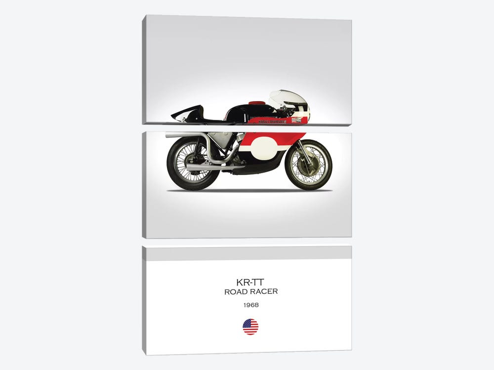 1968 Harley-Davidson KR-TT Road Racer Motorcycle by Mark Rogan 3-piece Canvas Wall Art