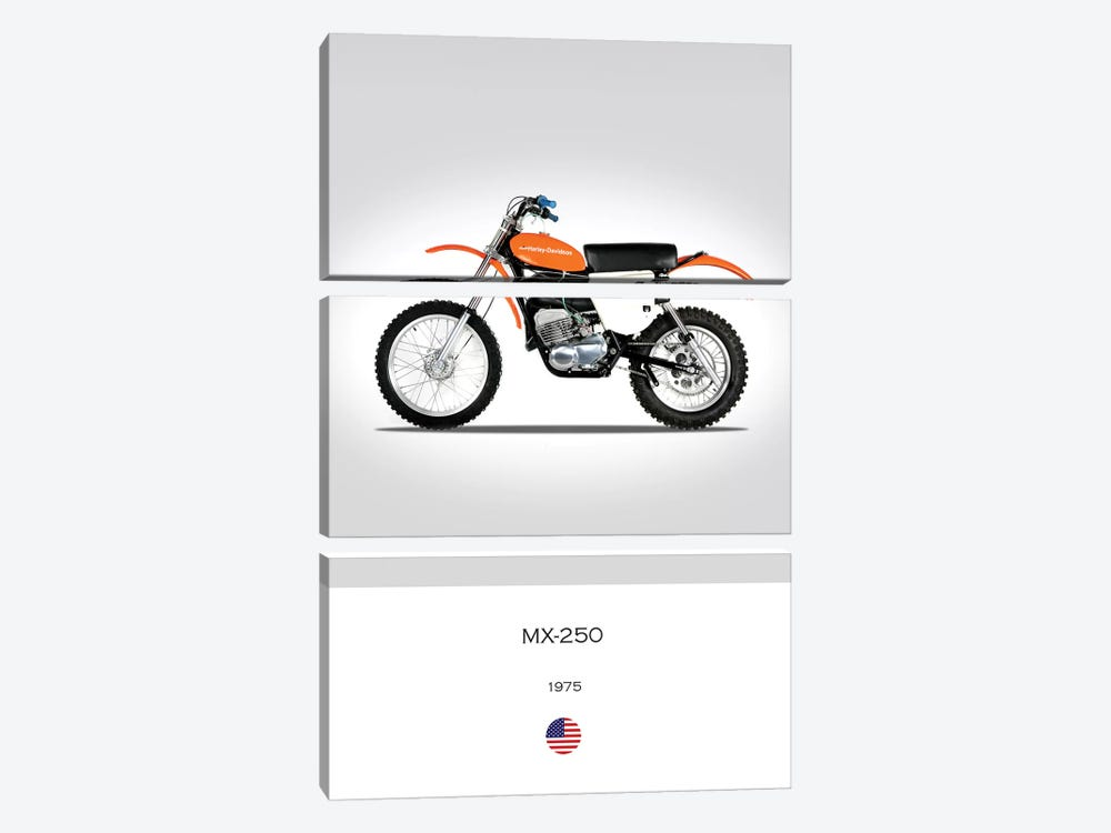 1975 Harley-Davidson MX-250 Motorcycle by Mark Rogan 3-piece Canvas Print