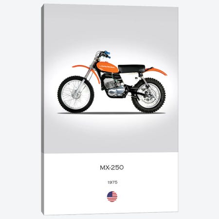 1975 Harley-Davidson MX-250 Motorcycle Canvas Print #RGN333} by Mark Rogan Canvas Artwork