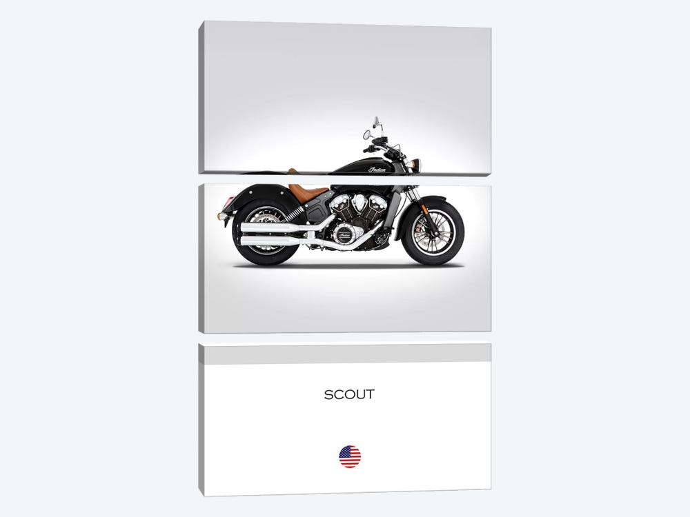 2016 Indian Scout Motorcycle by Mark Rogan 3-piece Canvas Print
