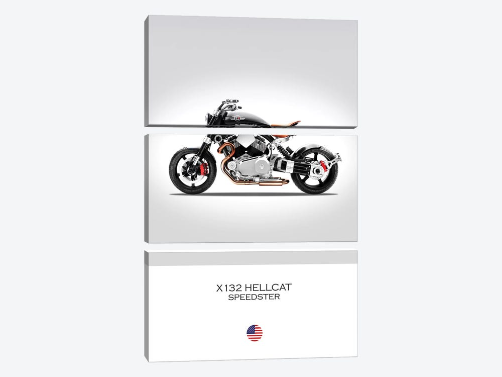 Confederate X132 Hellcat Speedster by Mark Rogan 3-piece Canvas Wall Art