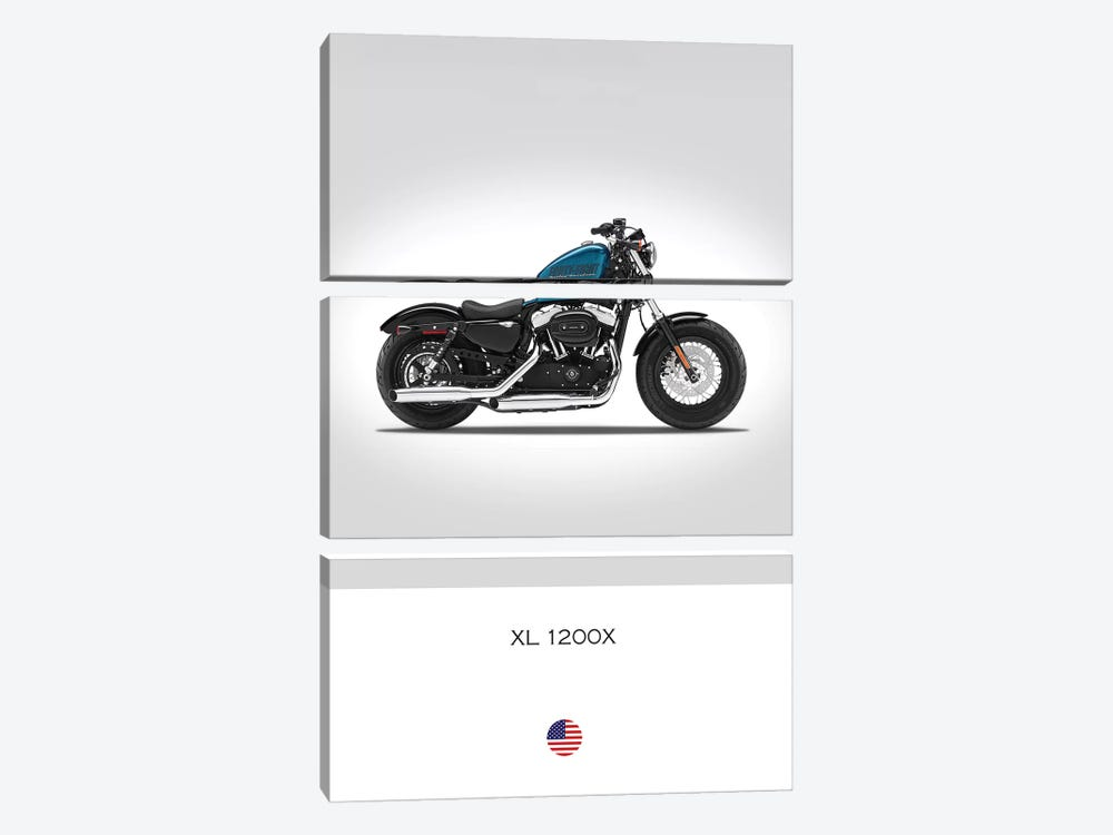 Harley Davidson XL 1200X Forty-Eight Motorcycle by Mark Rogan 3-piece Canvas Print