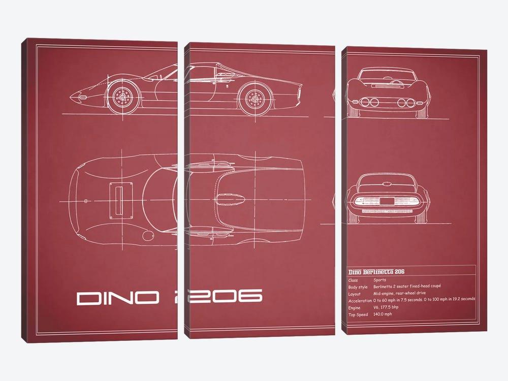 1965 Ferrari Dino Berlinetta 206 (Maroon) by Mark Rogan 3-piece Canvas Artwork