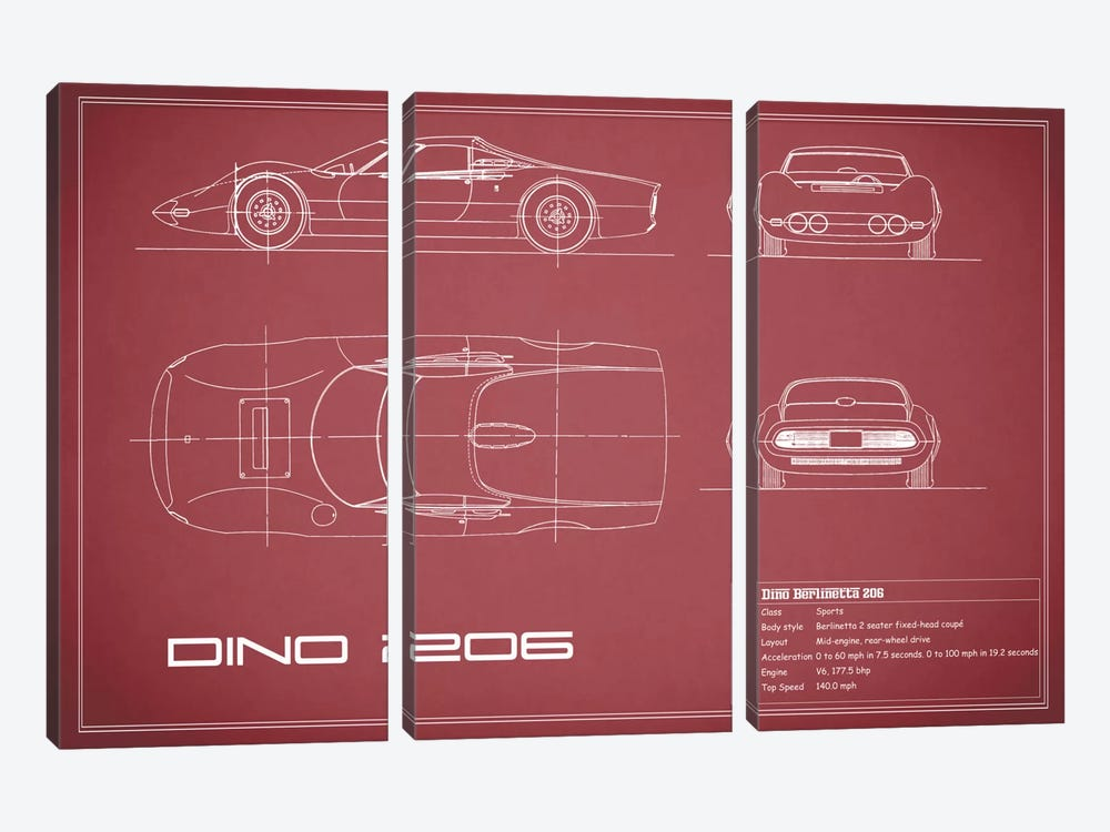 1965 Ferrari Dino Berlinetta 206 (Maroon) 3-piece Canvas Artwork