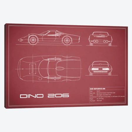 1965 Ferrari Dino Berlinetta 206 (Maroon) Canvas Print #RGN33} by Mark Rogan Canvas Print