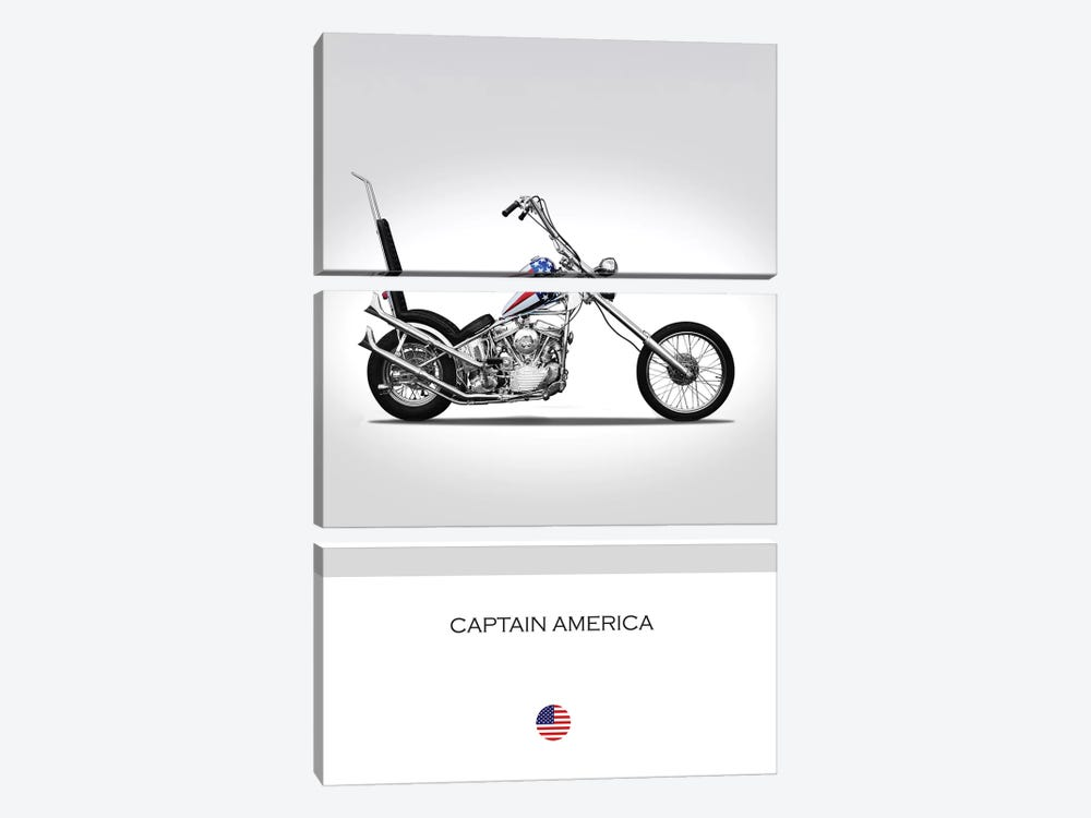 Harley-Davidson Captain America Easy Rider Tribute Motorcycle by Mark Rogan 3-piece Canvas Art Print