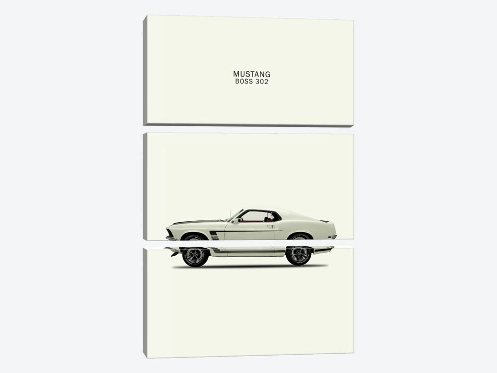 1969 Ford Mustang Boss 302 by Mark Rogan 3-piece Canvas Artwork