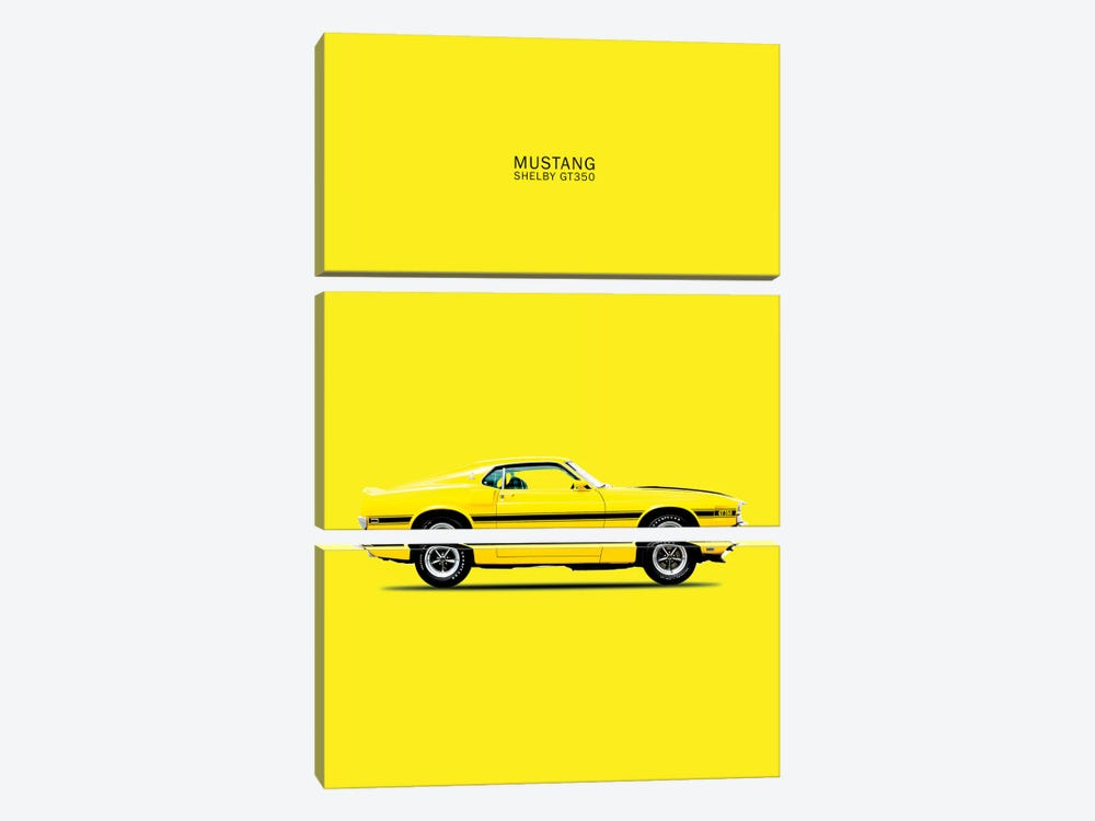 1969 Ford Mustang Shelby GT350 (Yellow) by Mark Rogan 3-piece Canvas Art