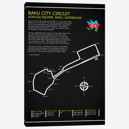 Baku City Circuit BL Canvas Print #RGN566} by Mark Rogan Canvas Art