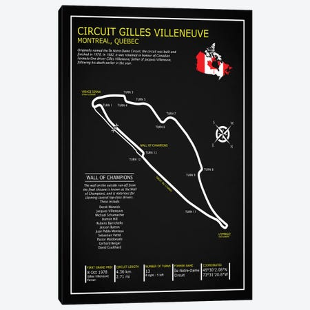 Gilles Villeneuve Circuit BL Canvas Print #RGN587} by Mark Rogan Canvas Wall Art