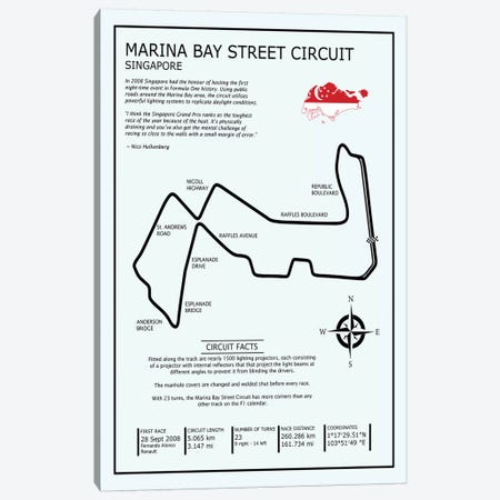 Marina Bay Circuit 3-Piece Canvas #RGN604} by Mark Rogan Canvas Art Print