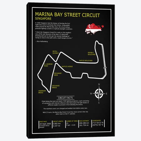 Marina Bay Circuit BL 3-Piece Canvas #RGN605} by Mark Rogan Art Print