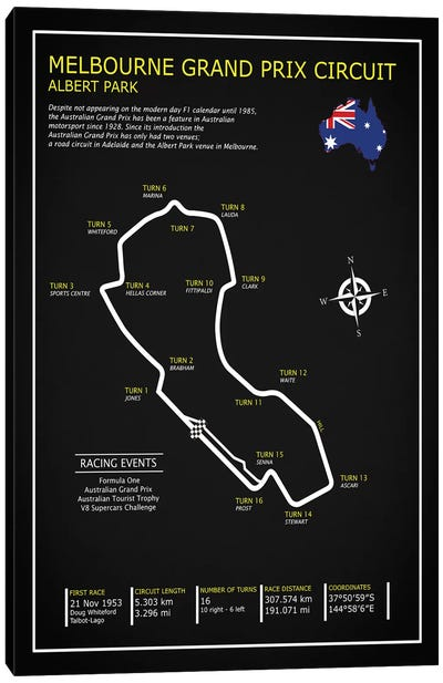 Melbourne GP Circuit BL Canvas Art Print