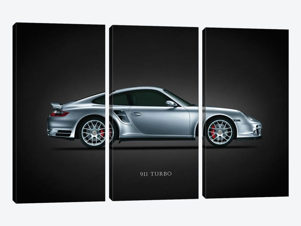 Porsche 911 Turbo Silver by Mark Rogan 3-piece Canvas Wall Art