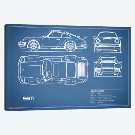 1977 Porsche 911 Turbo (930) (Blue) Canvas Print #RGN69} by Mark Rogan Canvas Art