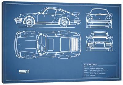 1977 Porsche 911 Turbo (930) (Blue) Canvas Print #RGN69