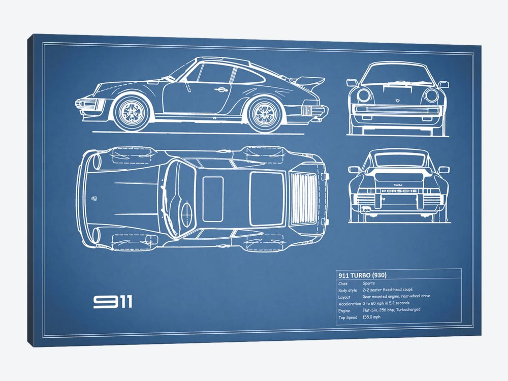 1977 Porsche 911 Turbo (930) (Blue) by Mark Rogan 1-piece Art Print