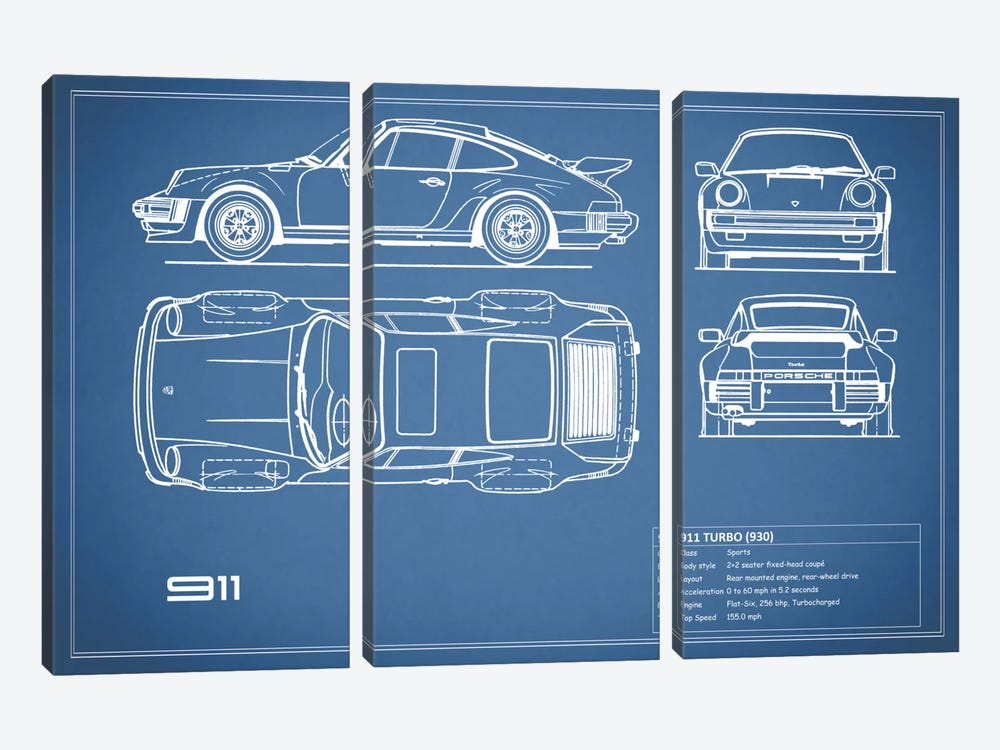 1977 Porsche 911 Turbo (930) (Blue) by Mark Rogan 3-piece Art Print