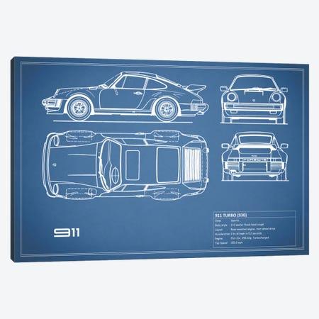 1977 Porsche 911 Turbo (930) (Blue) Canvas Print #RGN69} by Mark Rogan Canvas Art