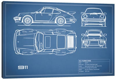 1977 Porsche 911 Turbo (930) (Blue) Canvas Art Print