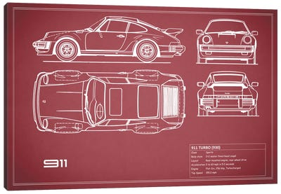 1977 Porsche 911 Turbo (930) (Maroon) Canvas Art Print
