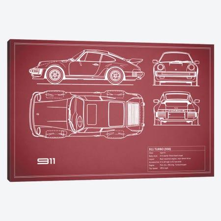 1977 Porsche 911 Turbo (930) (Maroon) Canvas Print #RGN70} by Mark Rogan Canvas Print