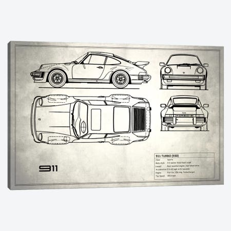 1977 Porsche 911 Turbo (930) (Vintage Silver) Canvas Print #RGN71} by Mark Rogan Art Print