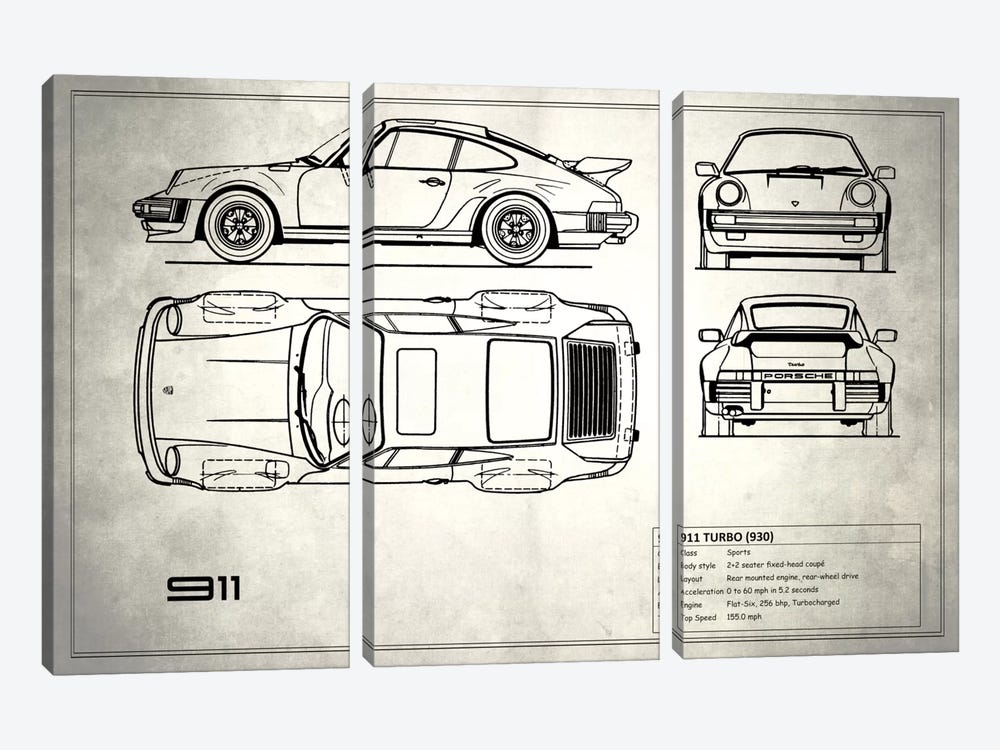 1977 Porsche 911 Turbo (930) (Vintage Silver) 3-piece Canvas Artwork