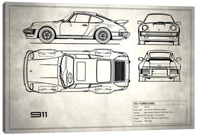 1977 Porsche 911 Turbo (930) (Vintage Silver) Canvas Art Print