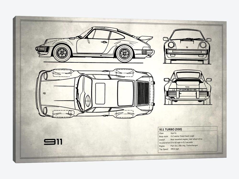 1977 Porsche 911 Turbo (930) (Vintage Silver) by Mark Rogan 1-piece Canvas Wall Art