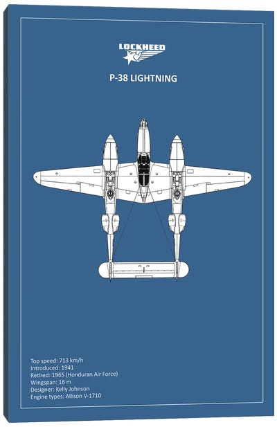 BP Lockheed P38 Lightning  Canvas Art Print