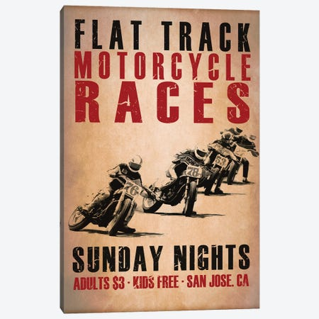 Flat Track Racers Canvas Print #RGN798} by Mark Rogan Canvas Artwork