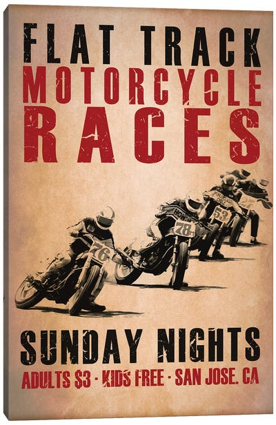 Flat Track Racers Canvas Art Print