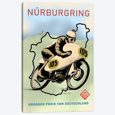 Nurburgring Motor Racing 1949 Canvas Print #RGN807} by Mark Rogan Art Print
