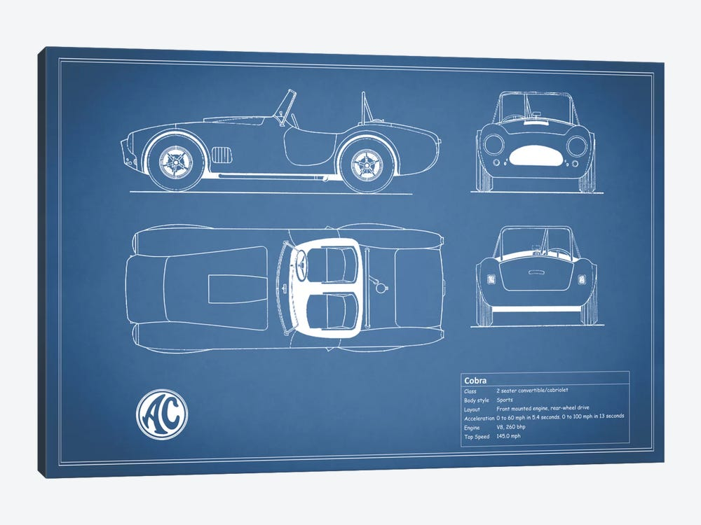 AC Cobra Roadster (Blue) by Mark Rogan 1-piece Canvas Art Print