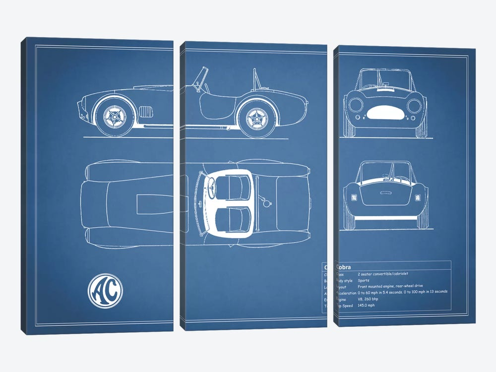 AC Cobra Roadster (Blue) by Mark Rogan 3-piece Art Print