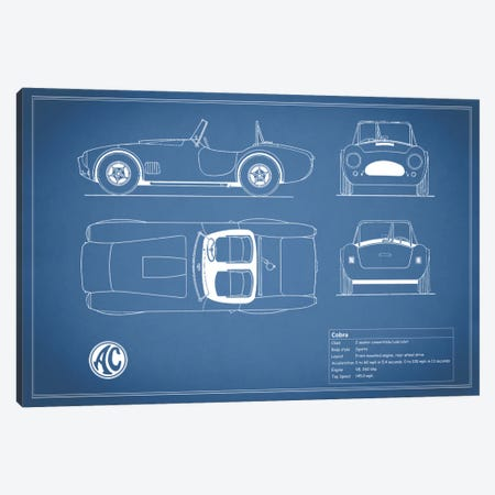 AC Cobra Roadster (Blue) 3-Piece Canvas #RGN87} by Mark Rogan Canvas Print