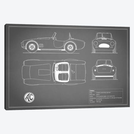 AC Cobra Roadster (Grey) Canvas Print #RGN88} by Mark Rogan Canvas Wall Art