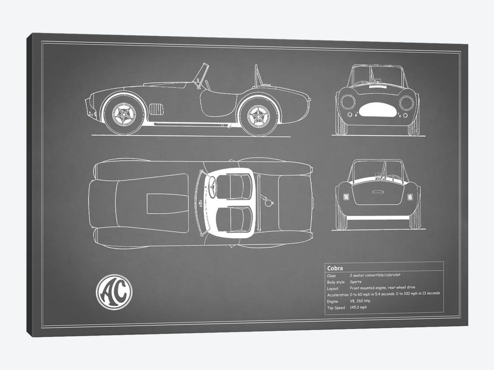 AC Cobra Roadster (Grey) by Mark Rogan 1-piece Canvas Artwork