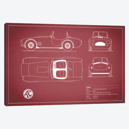 AC Cobra Roadster (Maroon) Canvas Print #RGN89} by Mark Rogan Canvas Art