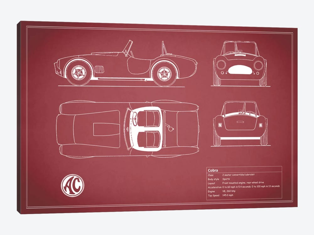 AC Cobra Roadster (Maroon) by Mark Rogan 1-piece Canvas Art Print