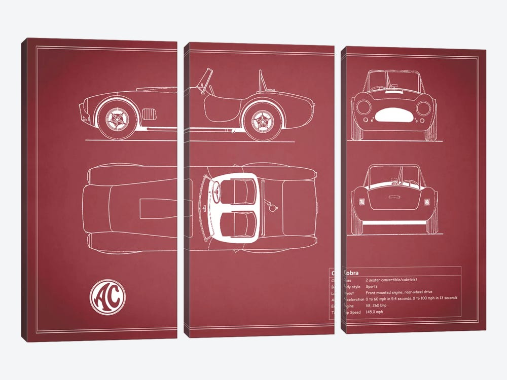 AC Cobra Roadster (Maroon) by Mark Rogan 3-piece Art Print