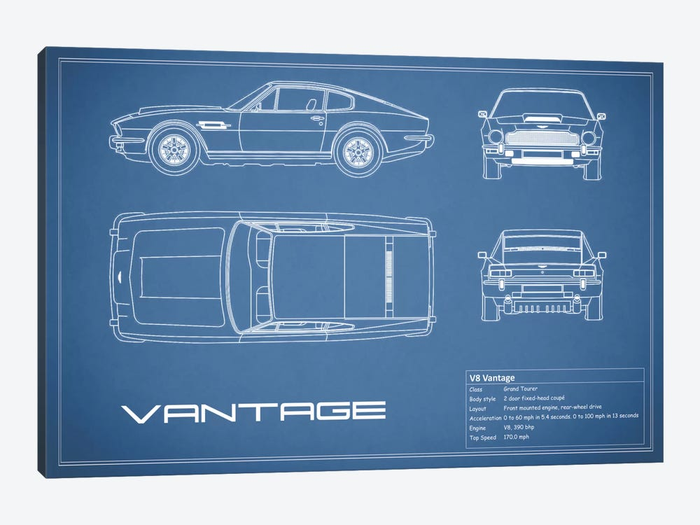 Aston Martin V8 Vantage (Blue) by Mark Rogan 1-piece Canvas Art Print