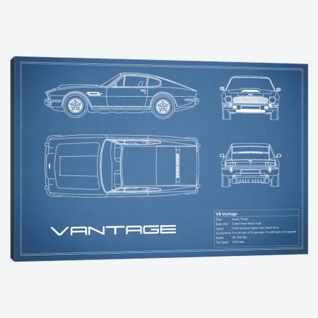 Aston Martin V8 Vantage (Blue) Canvas Print #RGN90} by Mark Rogan Canvas Art Print