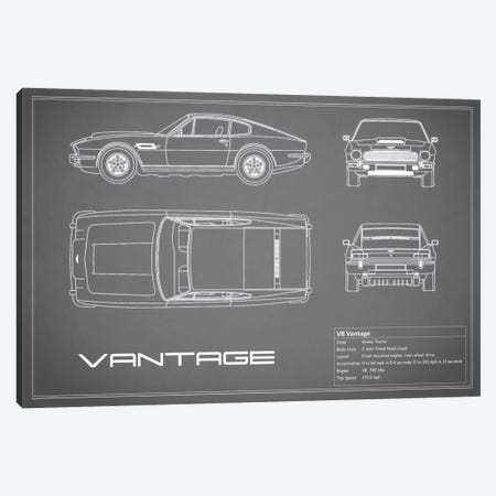 Aston Martin V8 Vantage (Grey) Canvas Print #RGN91} by Mark Rogan Art Print