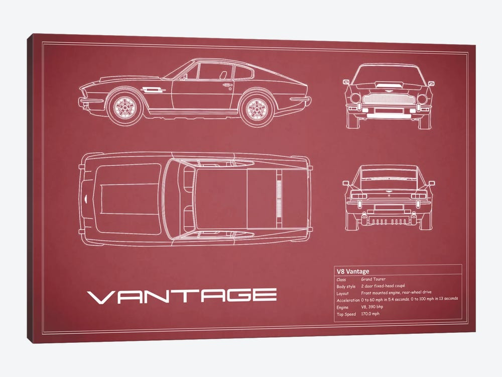Aston Martin V8 Vantage (Maroon) by Mark Rogan 1-piece Canvas Art Print