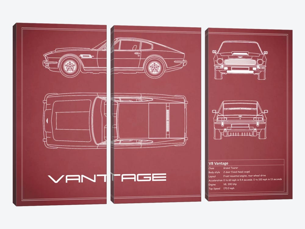 Aston Martin V8 Vantage (Maroon) by Mark Rogan 3-piece Canvas Print